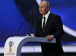 December 1, 2017 - Moscow, Russia - Russia's President Vladimir Putin speaks to the audience before the Final Draw for the 2018 FIFA World Cup at the State Kremlin Palace on December 01, 2017 in Moscow, Russia. (Credit Image: © Igor Russak/NurPhoto via ZUMA Press)