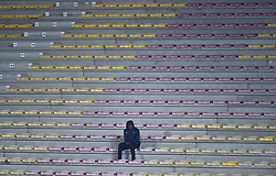 January 10, 2018 - Tubize, BELGIUM - A supporter pictured at a soccer game between AFC Tubize and Beerschot-Wilrijk, in Tubize, Wednesday 10 January 2018, on day 19 of the division 1B Proximus League competition of the Belgian soccer championship. The game was postponed because of bad weather conditions on December 10th. BELGA PHOTO JOHN THYS (Credit Image: © John Thys/Belga via ZUMA Press)