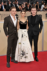 Dacre Montgomery, Natalia Dyer, Joe Keery arrives at the 24th annual Screen Actors Guild Awards at The Shrine Exposition Center on January 21, 2018 in Los Angeles, California. <br /><br />(Photo by Sthanlee Mirador/Sipa USA)