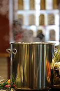 Steaming pot in a modern kitchen