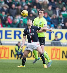 Falkirk's John Baird and Hibernian's Paul Hanlon. Falkirk 1 v 2 Hibernian, Scottish Championship game played 31/12/2016 at The Falkirk Stadium .