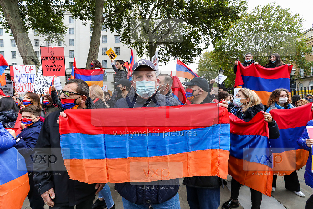 Pro-Armenian protesters called for an end to hostilities in Nagorno-Karabakh also known as Artsakh in Whitehall, central London on Saturday, Oct 10, 2020. The protest comes as Armenia and Azerbaijan have agreed to a ceasefire in Nagorno-Karabakh, despite claims by both sides that the other has breached the ceasefire. Dozens of people have reportedly been killed and hundreds more wounded since fighting erupted between Azerbaijan and Armenia more than a week ago. With some major world powers backing opposing sides in the standoff – and the U.S. notably absent – there are concerns the conflict could further escalate. (VXP Photo/ Vudi Xhymshiti)