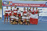 Chungju, South Korea.  Final Women's Quadruple Sculls Medel presentation, awards dock. 2013 FISA World Rowing Championships, Tangeum Lake International Regatta Course.16:48:08  Saturday  31/08/2013 [Mandatory Credit. Peter Spurrier/Intersport Images]<br /> <br /> 1GER W4X, Annekatrin THIELE (b) , Carina BAER (2) , Julia RICHTER (3) , Britta OPPELT (s)<br /> <br /> 2CAN W4X,Emily CAMERON (b) , Katharine GOODFELLOW (2) , Carling ZEEMAN (3) , Antje VON SEYDLITZ-KURZBACH (s)<br /> <br /> 3POLW4X Sylwia LEWANDOWSKA (b) , Joanna LESZCZYNSKA (2) , Magdalena FULARCZYK (3) , Natalia MADAJ