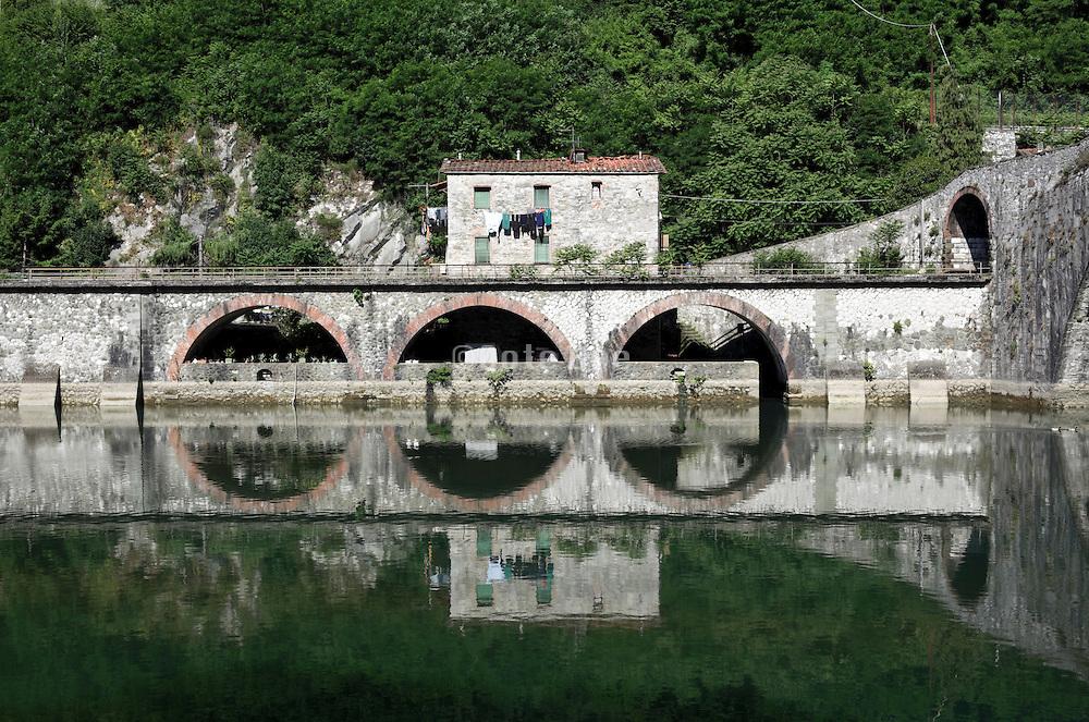 at the Maddalena Bridge at Bagni di Lucca, Tuscany, Italy. Also known as the Devil's Bridge
