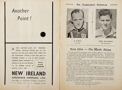All Ireland Senior Hurling Championship Final,.Programme,.05.09.1954, 09.05.1954, 5th September 1954,.Cork 1-9, Wexford 1-6,.Minor Dublin v Tipperary, .Senior Cork v Wexford,.Croke Park,..Advertisments, New Ireland Assurance Company Ltd, Another Point!,.