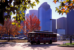 Trolley leaving a park and ride just outside of downtown Houston