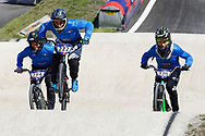 BMX Qualification, Nicolo' Bonini (Italy), Michele Tomizioli (Italy), Davide Maestrutti (Italy) during the Cycling European Championships Glasgow 2018, at Glasgow BMX Centre, in Glasgow, Great Britain, Day 9, on August 10, 2018 - Photo luca Bettini / BettiniPhoto / ProSportsImages / DPPI<br /> - Restriction / Netherlands out, Belgium out, Spain out, Italy out -