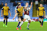 Callum O'Dowda of Bristol City (l) and Scott Arfield of Burnley battle for the ball. The Emirates FA cup 4th round match, Burnley v Bristol City at Turf Moor in Burnley, Lancs on Saturday 28th January 2017.<br /> pic by Chris Stading, Andrew Orchard Sports Photography.