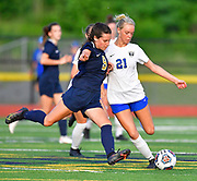 Althoff midfielder Tori Calvert (left) and Columbia midfielder Kaleigh Wilhelm vie for the ball. Althoff played Columbia in the sectional championship game at Althoff High School in Belleville, IL on Friday June 11, 2021. <br /> Tim Vizer/Special to STLhighschoolsports.com.