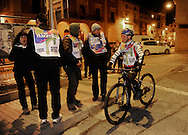 """People wait the """"19th Korrika"""" early in Lodosa on March 26, 2015, Basque Country. The """"19th Korrika"""" a relay of hand to hand baton passing without interruption over 11 days and 10 nights crossing many Basque villages and cities, totalling some 2300 kilometres in a bid to promote the basque language.The """"Korrika"""" this year end in Bilbao on March 29. (Ander Gillenea / Bostok Photo)"""