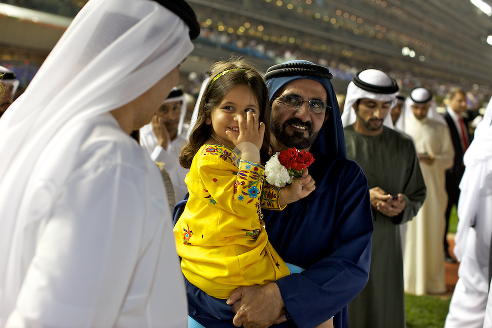 Mohammed bin Rashid Al Maktoum, Prime Minister and Vice President of the United Arab Emirates, Ruler of Dubai with his daughter at the Dubai World Cup 2011.