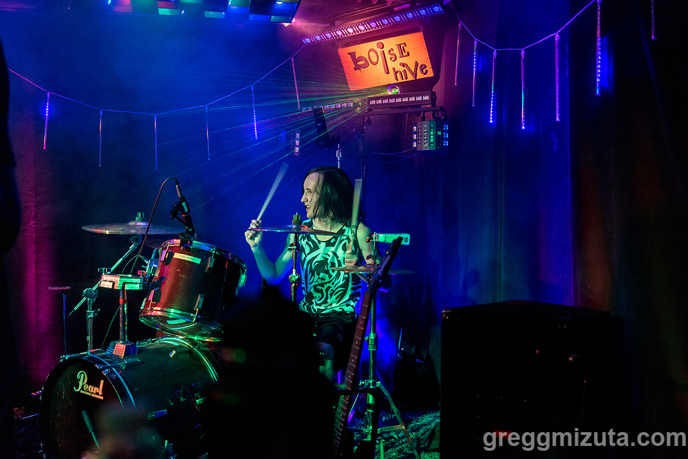Gabrial Warren. Avrie Davis performs at the Boise Hive, Boise, Idaho on August 21, 2021.<br /> <br /> Avrie Davis (vocals, guitar), Dylan Smith (bass), Kyler Garcia (guitar), and Gabrial Warren (drums).