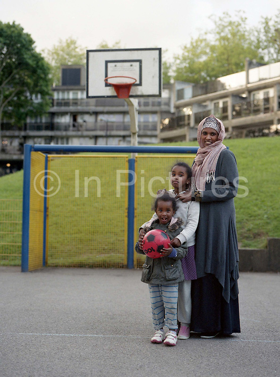 A young family recently moved into Central Hill Estate on 24th May 2016 in South London, United Kingdom.  Central Hill is a low-rise estate of more than 450 homes in Crystal Palace in South London and has been recommended for demolition under Lambeth Council estate regeneration plan. The housing scheme, built between 1966 and1974, was designed by Rosemary Stjernstedt under Lambeth Council's director of architecture, Ted Hollamby.