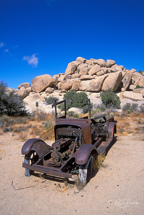 Old rusted Ford truck near Barker Dam, Joshua Tree National Park, California