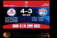 FOOTBALL - FRENCH CHAMPIONSHIP 2009/2010  - L1 - LILLE OSC v OLYMPIQUE LYONNAIS - 5/12/2009 - PHOTO GUY JEFFROY / DPPI - FINAL SCOREBOARD