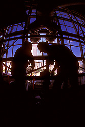 Stock photo of workers in the interior of the George R. Brown Convention Center in Houston, Texas during new construction.