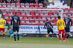 Dunfermline's Kevin Nisbet scoring their first goal. half time : Dunfermline 4 v 0 Partick Thistle, Scottish Championship game played 30/11/2019 at Dunfermline's home ground, East End Park.