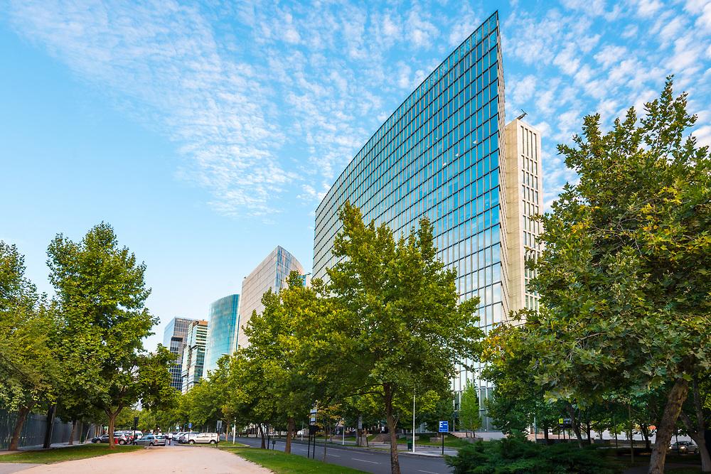 Santiago, Region Metropolitana, Chile - Nueva Las Condes, the new financial district in Santiago, home of top high end corporate buildings in front of Araucano Park