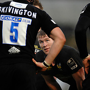 Wycombe. GREAT BRITAIN, Tom REES looks up to George SKIVINGTON during a break in play at the, Guinness Premiership game between, London Wasps and Leicester Tigers on 25/11/2006, played at  Adams<br />  Park,<br />  ENGLAND. Photo, Peter Spurrier/Intersport-images]