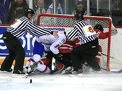 Fight after Scating into Canadian goal at play-off round quarterfinals ice-hockey game Norway vs Canada at IIHF WC 2008 in Halifax,  on May 14, 2008 in Metro Center, Halifax, Nova Scotia,Canada. (Photo by Vid Ponikvar / Sportal Images)