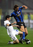 Fotball<br /> Frankrike<br /> Foto: DPPI/Digitalsport<br /> NORWAY ONLY<br /> <br /> FOOTBALL - CHAMPIONS LEAGUE 2008/2009 - GROUP STAGE - GROUP B - 081022 - INTER MILAN v ANORTHOSSIS FAMAGUSTA FC - ZLATAN IBRAHIMOVIC (INT) / VINCENT LABAN (ANO)