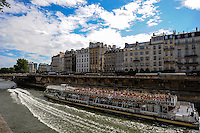 Paris, France. Sightseeing boat on the river Seine.