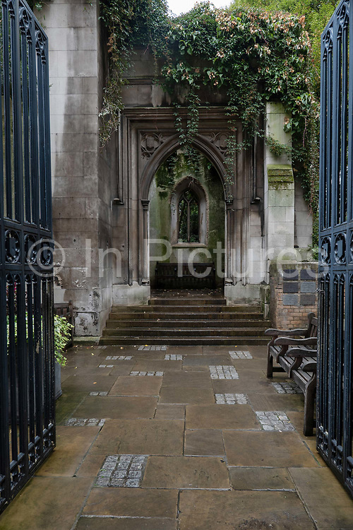 An entrance to St Dunstan's in the East on the 20th September 2019 in London in the United Kingdom. St Dunstan's in the East was a Church of England parish church on St Dunstans Hill. The church was largely destroyed in the Second World War and the ruins are now a public garden.
