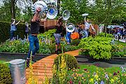 Stomp perform on the Homebase Urban Retreat Garden - RHS Chelsea Flower Show, Chelsea Hospital, London UK, 18 May 2015.