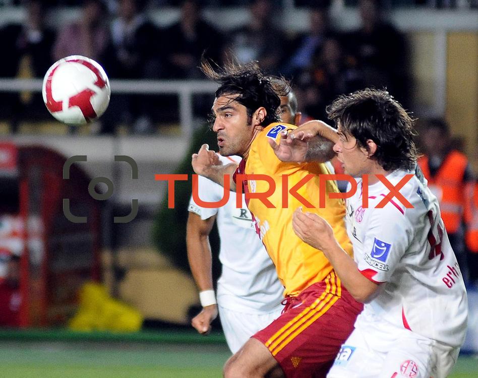 Galatasaray's Mustafa SARP (C) during their Turkish Super League soccer match Galatasaray between Antalyaspor at the AliSamiYen Stadium at Mecidiyekoy in Istanbul Turkey on Saturday 08 May 2010. Photo by TURKPIX