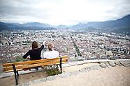Septembre 2011. Grenoble. Bastille de Grenoble, point culminant à l'extrémité sud de la Chartreuse, qui surplombe, au nord, la ville de Grenoble.