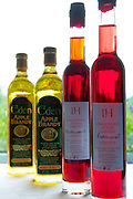 Bottles of Apple Brandy and Redcurrent Liqueur made at Longueville House.