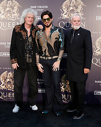 Roger Taylor at a press conference to kick off limited engagement of THE CROWN JEWELS held at the MGM Resorts Aviation Hangar on August 28, 2018 in Las Vegas, NV. © JPA / AFF-USA.com. 29 Aug 2018 Pictured: Roger Taylor, Adam Lambert and Brian May. Photo credit: JPA / AFF-USA.com / MEGA TheMegaAgency.com +1 888 505 6342