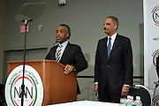 Washington, DC-April 11: (L-R) Rev. Al Sharpton and Attorney General of the United States Eric Holder attend the 14th Annual National Convention Special Plenary Presentation 1 with Attorney General of the United States Eric Holder held at the Walter E. Washington Convention on April 11, 2012 in Washington, DC. Photo by Terrence Jennings