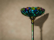 stained glass floor lamp stylized to painterly effect