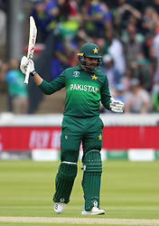 Pakistan's Haris Sohail celebrates reaching his half century during the ICC Cricket World Cup group stage match at Lord's, London.