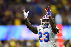 Florida Gators defensive back Chauncey Gardner-Johnson #23 reacts to a play during the Chick-fil-A Peach Bowl, Saturday, December 29, 2018, in Atlanta. (Jason Parkhurst via Abell Images for Chick-fil-A Peach Bowl)