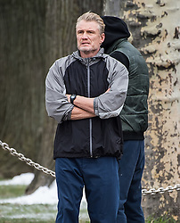 Dolph Lundgren and Florian Munteanu film Creed II on top of the Rocky steps at the Philadelphia Museum of Art in Philadelphia. 15 Mar 2018 Pictured: Dolph Lundgren. Photo credit: MEGA TheMegaAgency.com +1 888 505 6342