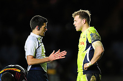 Referee Matthew O'Grady speaks with Will Addison of Sale Sharks - Mandatory byline: Patrick Khachfe/JMP - 07966 386802 - 03/02/2017 - RUGBY UNION - The Twickenham Stoop - London, England - Harlequins v Sale Sharks - Anglo-Welsh Cup.