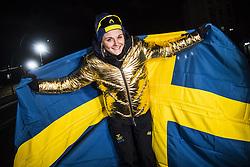 February 13, 2018 - Stockholm, Sweden - OS 2018 i Pyeongchang. Sprint, damer. Stina Nilsson, längdskidÃ¥kare Sverige, vann. tävling action landslaget guld guldjacka (Credit Image: © Orre Pontus/Aftonbladet/IBL via ZUMA Wire)