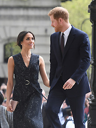 6 in series of 10. File photo dated 23/4/2018 of Prince Harry and Meghan Markle arriving at a memorial service at St Martin-in-the-Fields in Trafalgar Square, London, to commemorate the 25th anniversary of the murder of Stephen Lawrence.