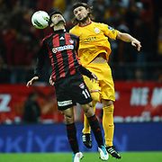 Galatasaray's Tomas UJFALUSI (R) and Gaziantepspor's Muhammet DEMIR (L) during their Turkish Superleague Galatasaray between Gaziantepspor at the TT arena in Istanbul Turkey on Wednesday 26 October 2011. Photo by TURKPIX