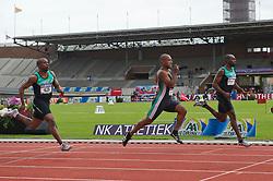 30-07-2011 ATLETIEK: NK OUTDOOR: AMSTERDAM<br /> (L-R) Jerry Joseph, Giovanni Codington AA Drink, Churandy Martina, series 100 meter mannen<br /> ©2011-FotoHoogendoorn.nl / Peter Schalk
