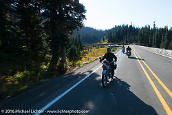 Thomas Trapp riding his 1916 Harley-Davidson F during Stage 16 (142 miles) of the Motorcycle Cannonball Cross-Country Endurance Run, which on this day ran from Yakima to Tacoma, WA, USA. Sunday, September 21, 2014.  Photography ©2014 Michael Lichter.