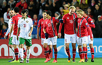 Fotball<br /> UEFA Euro 2016 Matchday 3<br /> Norge v Bulgaria / Norway v Bulgaria 2:1<br /> 13.10.2014<br /> Foto: Morten Olsen, Digitalsport<br /> <br /> Norway celebrating 2:1<br /> Tarik Elyounoussi (10) - Hoffenheim / NOR<br /> Håvard Nielsen (18) - Eintracht Braunschweig / NOR<br /> <br /> Martin Ødegaard (9) - Strømsgodset / NOR<br /> who became the youngest ever player to participate in an EURO game 15 years 301 days
