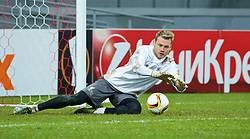 KAZAN, RUSSIA - Wednesday, November 4, 2015: Liverpool's goalkeeper Simon Mignolet training at the Kazan Arena ahead of the UEFA Europa League Group Stage Group B match against FC Rubin Kazan. (Pic by Oleg Nikishin/Propaganda)