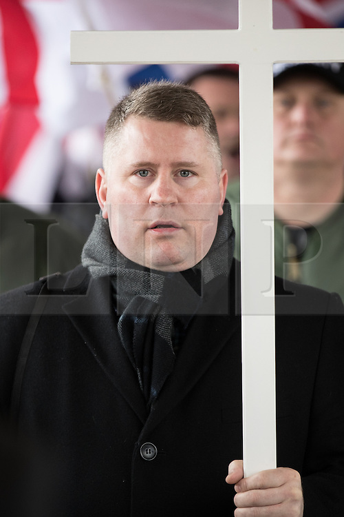 © Licensed to London News Pictures. 25/02/2017. Telford, UK. Britain First leader Paul Golding at a demonstration in Telford , opposed by anti-fascist groups . Britain First say they are highlighting concerns about child sexual exploitation in the town . Photo credit: Joel Goodman/LNP
