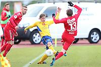 fotball, obosligaen, obosserien, jerv, brann, 27.april, 2015<br /> Espen Ramse Knudsen, Jerv<br /> Erik Huseklepp, Brann<br /> Azar Karadas, Brann<br /> Foto: Ole Fjalsett
