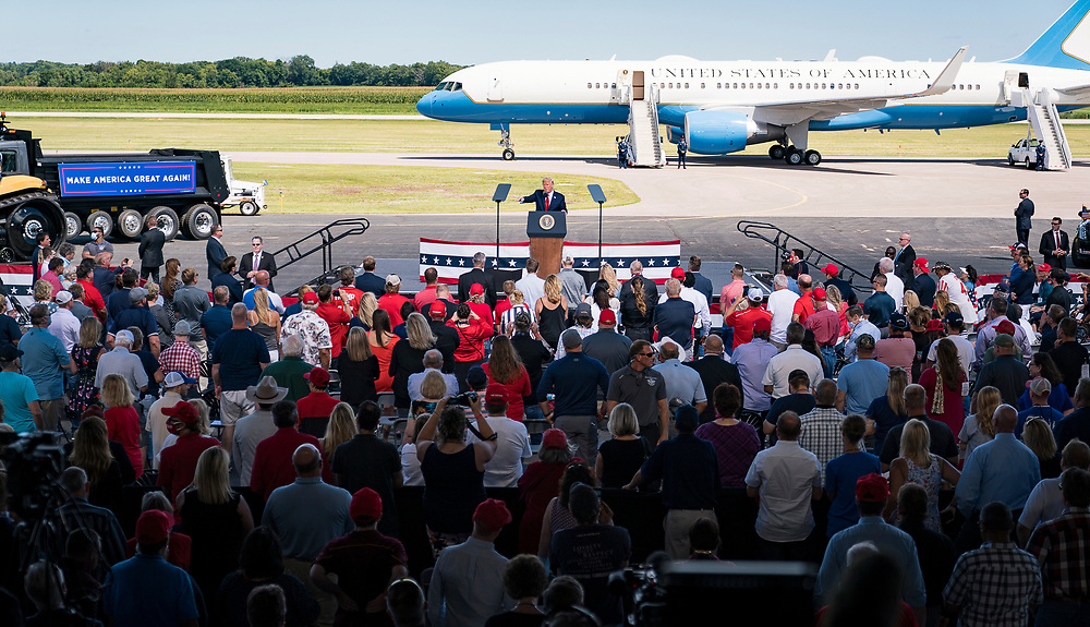 President Donald Trump delivers a speech to a crowd during a campaign rally at North Star Aviation in Mankato, Minnesota on Monday, Aug. 17, 2020.