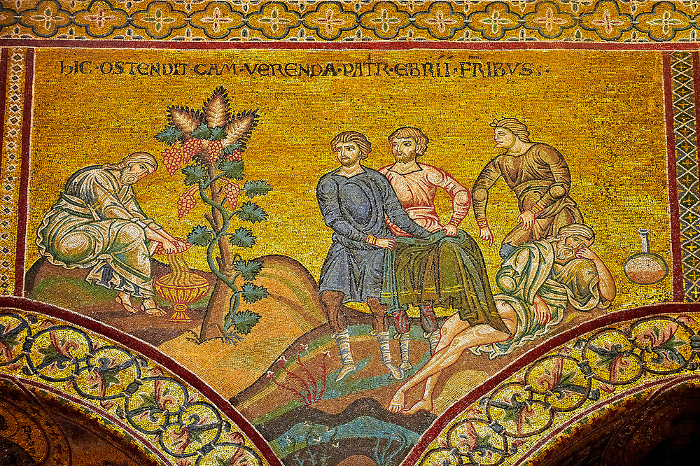 Medieval Byzantine mosaics of biblical senes, Monreale Cathedral, Sicily .<br /> <br /> If you prefer you can also buy from our ALAMY PHOTO LIBRARY  Collection visit : https://www.alamy.com/portfolio/paul-williams-funkystock/monrealeduomomosaics.html. Refine search by adding subject etc  into the LOWER SEARCH WITHIN GALLERY box. <br /> <br /> Visit our BYZANTINE MOSAIC PHOTO COLLECTION for more   photos  to download or buy as prints https://funkystock.photoshelter.com/gallery-collection/Roman-Byzantine-Art-Artefacts-Antiquities-Historic-Sites-Pictures-Images-of/C0000lW_87AclrOk