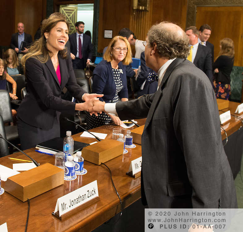 """Mr. Paul Rosenzweig greets Dawn Grove Wednesday September 14, 2016, before the Subcommittee on Oversight, Agency Action, Federal Rights and Federal Courts, testimony was also heard from The Honorable Lawrence E. Strickling, Assistant Secretary for Communications and Information and Administrator<br /> National Telecommunications and Information Administration (NTIA), United States Department of Commerce;  Mr. Göran Marby, CEO and President, Internet Corporation for Assigned Names and Numbers (ICANN); Mr. Berin Szoka, President, TechFreedom; Mr. Jonathan Zuck, President, ACT The App Association;  Ms. Dawn Grove, Corporate Counsel<br /> Karsten Manufacturing; Ms. J. Beckwith (""""Becky"""") Burr, Deputy General Counsel and Chief Privacy Officer, Neustar;  Mr. John Horton, President and CEO, LegitScript;  Mr. Steve DelBianco, Executive Director, NetChoice; Mr. Paul Rosenzweig, Former Deputy Assistant Secretary for Policy, U.S. Department of Homeland Security."""